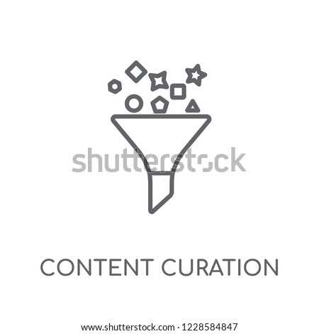 Content curation linear icon. Modern outline Content curation logo concept on white background from Technology collection. Suitable for use on web apps, mobile apps and print media.