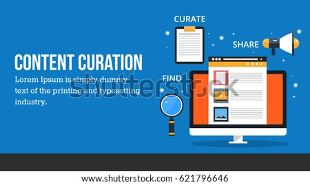 Content curation, sharing, and marketing of digital contents flat vector banner isolated on blue background