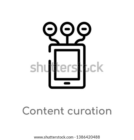 content curation vector line icon. Simple element illustration. content curation outline icon from technology concept. Can be used for web and mobile