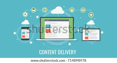 Content Delivery, Network, CDN, cloud computing, content distribution flat vector banner illustration with technology icons isolated on blue background