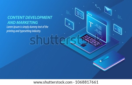 Content development and marketing, Digital content publication, Sharing vector banner illustration