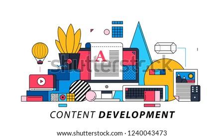 Content Development. Illustration in memphis style. Blogging, copywriting, editing.