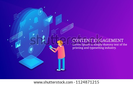 Content engagement, Digital content marketing, engaging audience - 3D isometric flat banner with icons and texts