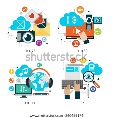 Content forms combined in multimedia. Set design video, audio, images, text. Flat icons set of website user interface design. Elements for mobile and web applications.