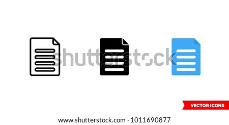 Content icon of 3 types: color, black and white, outline. Isolated vector sign symbol.