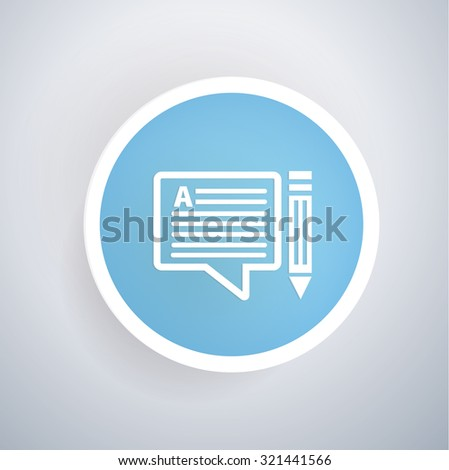 Content icon on blue button background, clean vector