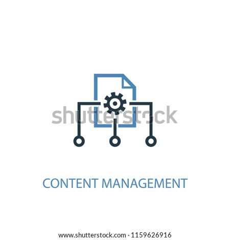 Content management concept 2 colored icon. Simple blue element illustration. Content management concept symbol design from Digital marketing set. Can be used for web and mobile UI/UX