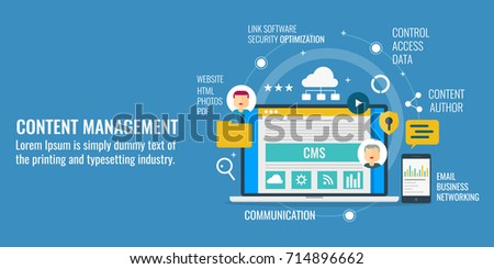 Content management, system. CMS, technology, communication flat vector banner illustration with icons isolated on blue background