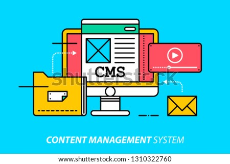 Content management system. Colorful illustration on bright cyan background. Modern outline style.