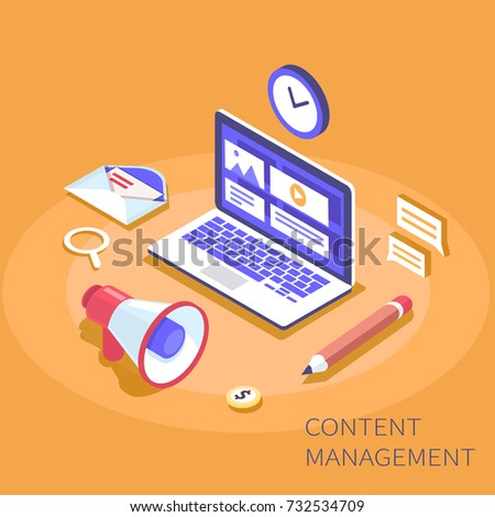 Content management system concept. Can use for web banner, infographics, hero images. Flat isometric vector illustration.