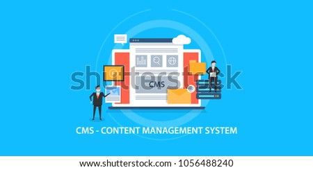 Content management system concept - CMS - Business marketing  flat vector concept on blue background