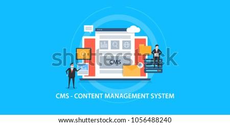 Content management system concept - CMS - Business marketing  flat vector concept on blue background