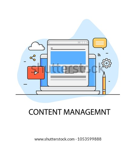 Content management, website administration, CMS flat outline vector concept with icons
