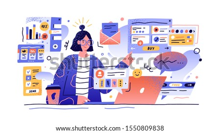 Content manager at work hand drawn illustration. Female multitasking skill concept. Young girl managing SMM strategy processes cartoon character. Freelance worker busy with email marketing analysis.