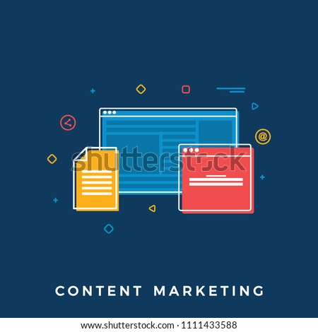 Content Marketing Business Concept.   Flat Vector Illustration of Different Files and Web Screens. Flat Banner for Websites, Web Banners
