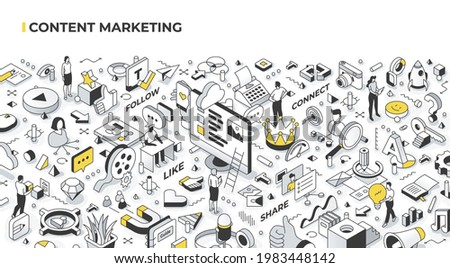 Content marketing concept. Creating and distributing quality digital content relevant and engaging for target audience. Abstract isometric illustration for hero images and web banners
