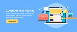 Content marketing, Digital content promotion flat vector banner