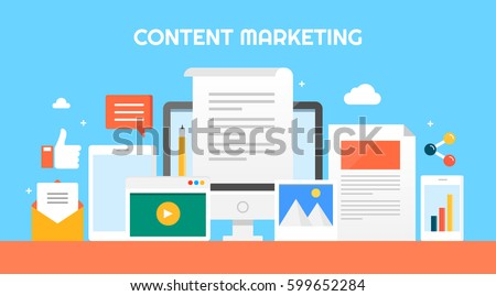 Content Marketing Flat vector illustration, Types of content for on-line advertising and promotion, content distributing through digital devices with icons and elements
