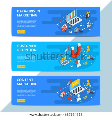 Content marketing isometric vector web banners. Business sale strategy and social media customer research. E-commerce or online shopping target search.