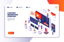 Content marketing landing page. Contents creation specialist and article writers. Writing service isometric concept