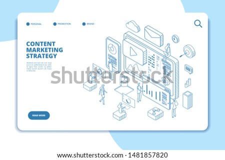 Content marketing landing page. Online contents creation specialist, video marketers and writers. B2b service line isometric concept