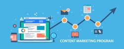 Content marketing program, web traffic analysis, growing audience, marketing strategy flat vector illustration with icons