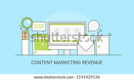 Content marketing revenue - digital marketing - Business search optimization flat vector illustration