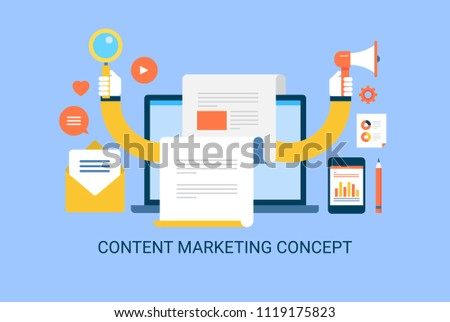 Content marketing, Searching on web, advertising on internet - flat style vector illustration on blue background