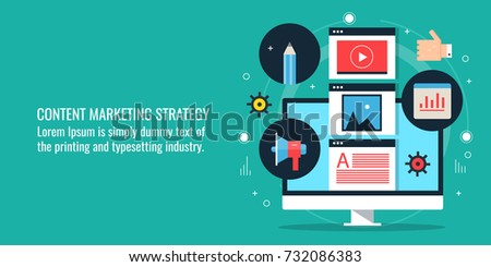 Content marketing strategy, Digital marketing flat vector banner with icons
