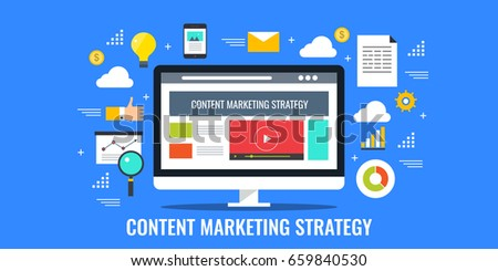 Content marketing strategy, digital media marketing, web content promotion flat vector with icons isolated on blue background