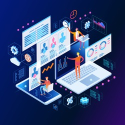 Content marketing strategy web banner. Marketing and sharing of digital content. Technology process of Software development