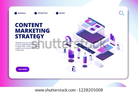 Content marketing. Video blog content strategy, digital market promotion. Website publishing isometric vector landing page