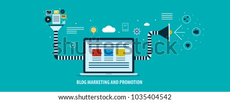 Content, network marketing for blog promotion flat vector concept with icons