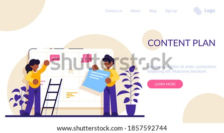 Content plan concept. Planning concept. Entrepreneurship and calendar schedule planning with filling course campaign. Events social media content and professional plan workers communications.