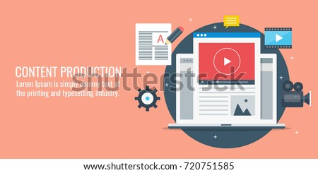 Content production, development, article writing, video flat vector banner with icons