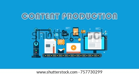 Content production, digital, marketing, automation flat vector illustration banner with icons