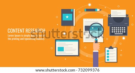 Content research, digital content flat vector with objects and icons