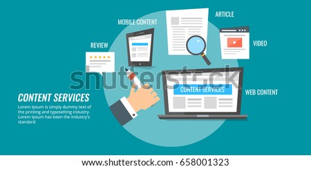 Content services, content development, writing skill, marketing success, social sharing flat banner concept isolated on dark background