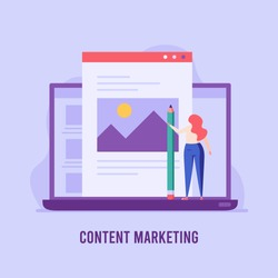 Content specialist writing blog or web article with pencil. Engaging content. Concept of blogging, copywriting, SEO digital marketing. Vector illustration in flat design for web banner
