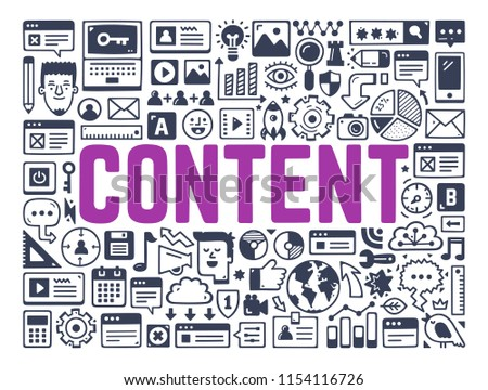 Content Strategy, Digital Content Marketing - Illustration with Hand Drawn Icons.