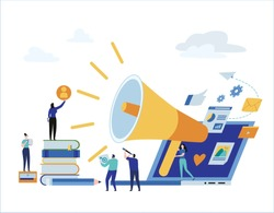 Content strategy marketing advertising. vector illustration infographicsocial media business concept,small people working decorated laptop technology.flat cartoon design for mobile and web concept.