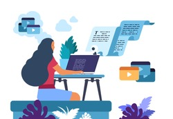 Content writer. Media creator and online freelance article writer, blog copywriter and content maker concept. Vector illustration internet business marketing concepts for creating blogs