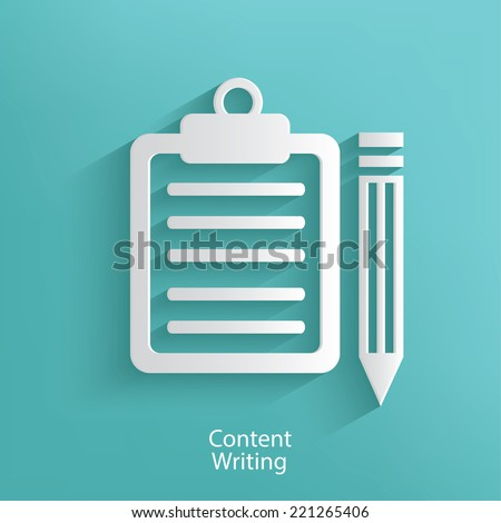 Content writing symbol on blue background clean vector