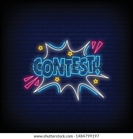 contest for poster in neon style. contest neon signs. greeting card, invitation card,flyer, posters, light bannercontest for poster in neon style. contest neon signs. greeting card, invitation card,fl