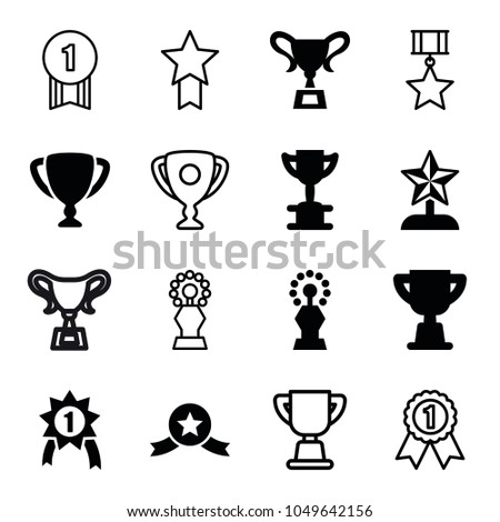Contest icons. set of 16 editable filled and outline contest icons such as trophy, star trophy, number 1 medal