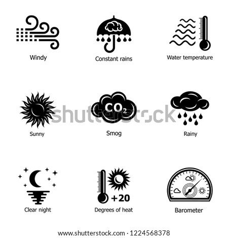 Context icons set. Simple set of 9 context vector icons for web isolated on white background