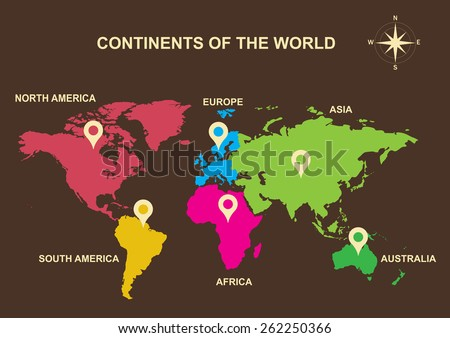Vector de mapas de continentes del mundo descargue grficos y continents of the world continents asia europe australia south america color world map vector gumiabroncs Choice Image
