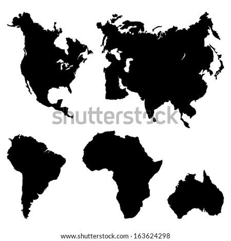 Постер, плакат: Continents Pictogram , холст на подрамнике