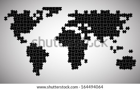 Постер, плакат: continents put from puzzles, холст на подрамнике