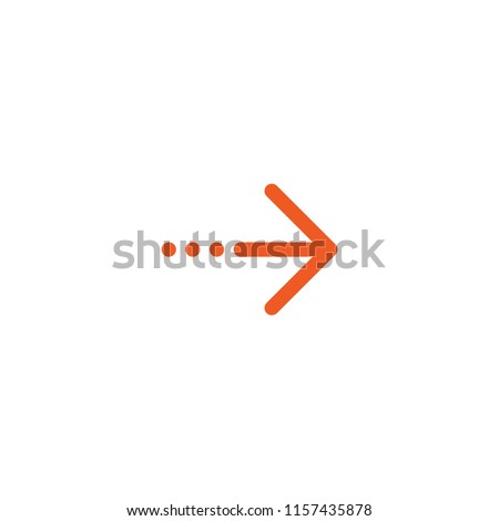 Continue icon.  red thin right arrow and three dots icon. Isolated on white. Next sign. look directory